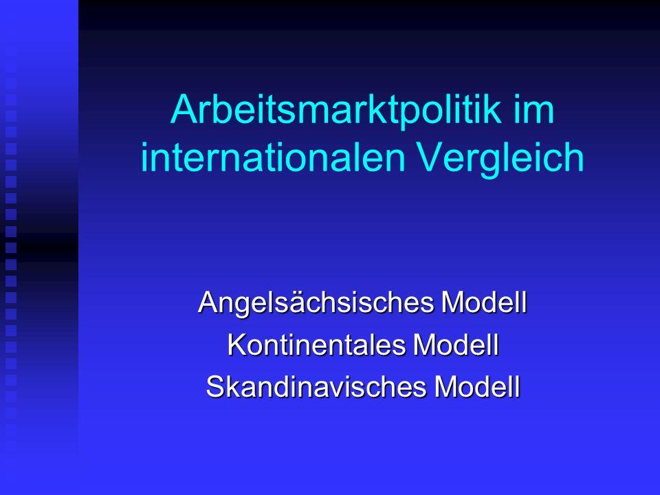 Arbeitsmarktpolitik im internationalen Vergleich Angelsächsisches Modell Kontinentales Modell Skandinavisches Modell