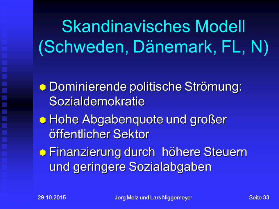29.10.2015Jörg Melz und Lars NiggemeyerSeite 33 Skandinavisches Modell (Schweden, Dänemark, FL, N)  Dominierende politische Strömung: Sozialdemokratie  Hohe Abgabenquote und großer öffentlicher Sektor  Finanzierung durch höhere Steuern und geringere Sozialabgaben