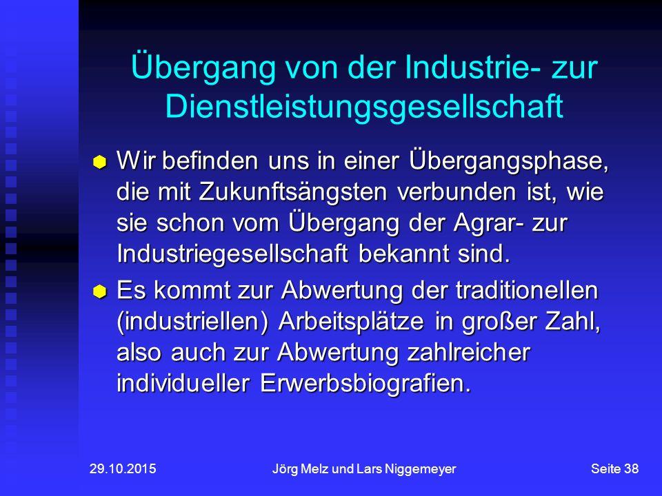 29.10.2015Jörg Melz und Lars NiggemeyerSeite 38 Übergang von der Industrie- zur Dienstleistungsgesellschaft  Wir befinden uns in einer Übergangsphase, die mit Zukunftsängsten verbunden ist, wie sie schon vom Übergang der Agrar- zur Industriegesellschaft bekannt sind.