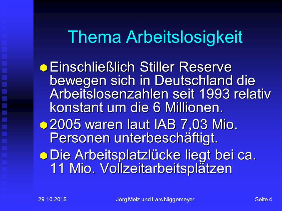 29.10.2015Jörg Melz und Lars NiggemeyerSeite 4 Thema Arbeitslosigkeit  Einschließlich Stiller Reserve bewegen sich in Deutschland die Arbeitslosenzahlen seit 1993 relativ konstant um die 6 Millionen.