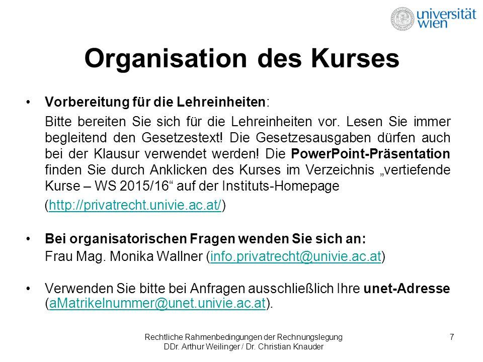 Rechtliche Rahmenbedingungen der Rechnungslegung DDr.