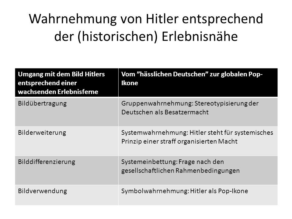 """Wahrnehmung von Hitler entsprechend der (historischen) Erlebnisnähe Umgang mit dem Bild Hitlers entsprechend einer wachsenden Erlebnisferne Vom """"hässl"""