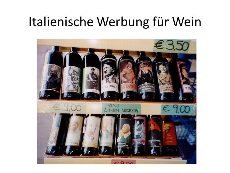 Italienische Werbung für Wein