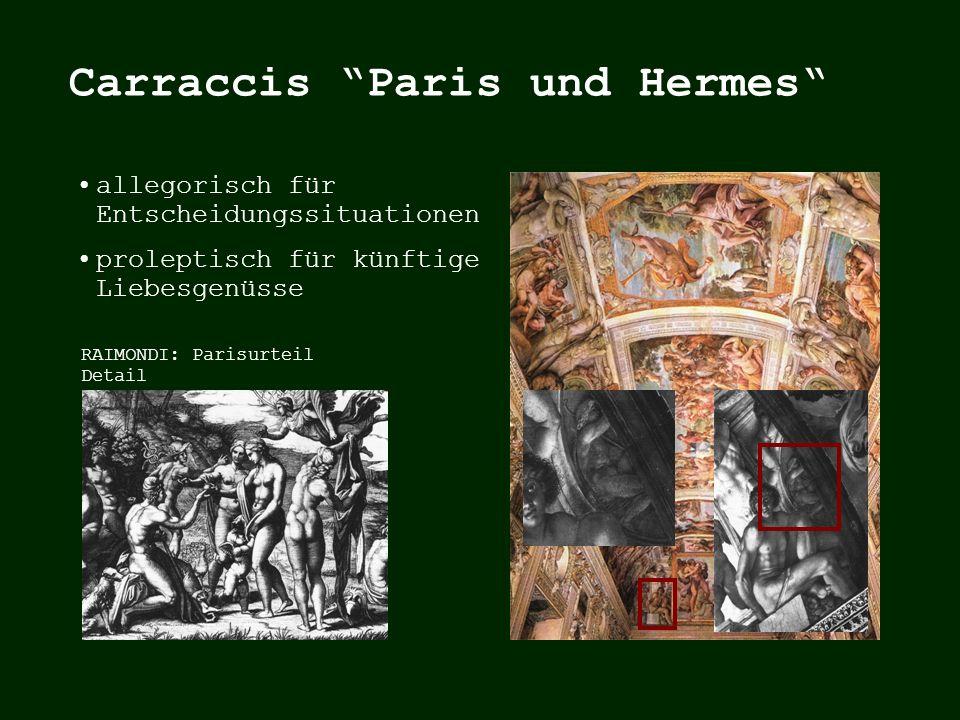 allegorisch für Entscheidungssituationen proleptisch für künftige Liebesgenüsse antikes Paris-Relief Stich nach verlorenem Original RAIMONDI: Parisurteil Detail Carraccis Paris und Hermes