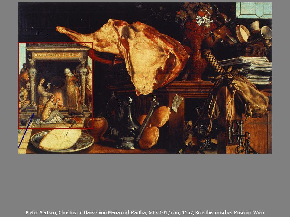 Pieter Aertsen, Christus im Hause von Maria und Martha, 60 x 101,5 cm, 1552, Kunsthistorisches Museum Wien
