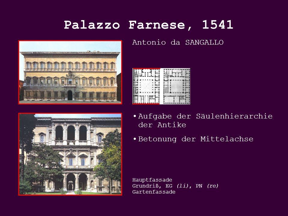 Antonio da SANGALLO Aufgabe der Säulenhierarchie der Antike Betonung der Mittelachse Hauptfassade Grundriß, EG (li), PN (re) Gartenfassade Palazzo Farnese, 1541