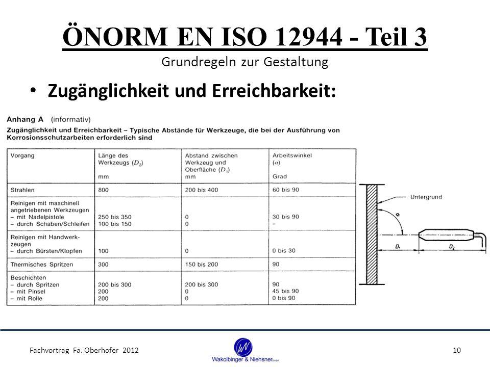 ÖNORM EN ISO 12944 - Teil 3 Grundregeln zur Gestaltung Zugänglichkeit und Erreichbarkeit: Fachvortrag Fa. Oberhofer 201210