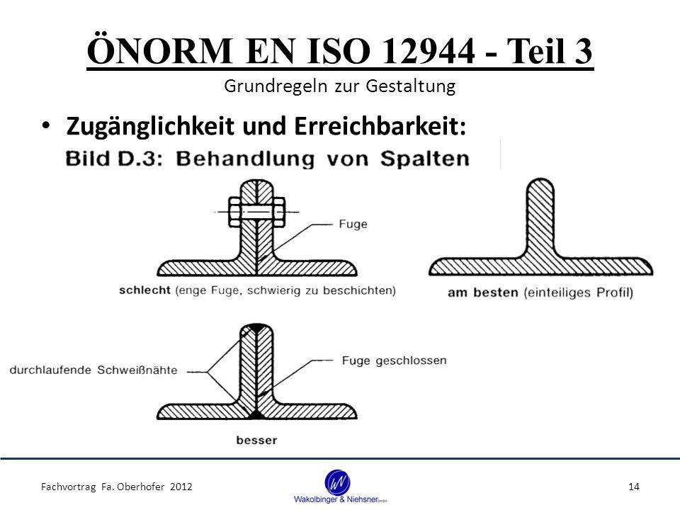 ÖNORM EN ISO 12944 - Teil 3 Grundregeln zur Gestaltung Zugänglichkeit und Erreichbarkeit: Fachvortrag Fa. Oberhofer 201214
