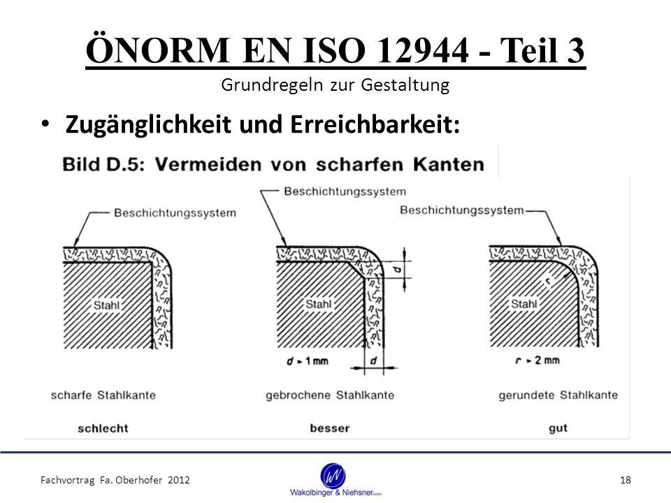 ÖNORM EN ISO 12944 - Teil 3 Grundregeln zur Gestaltung Zugänglichkeit und Erreichbarkeit: Fachvortrag Fa. Oberhofer 201218