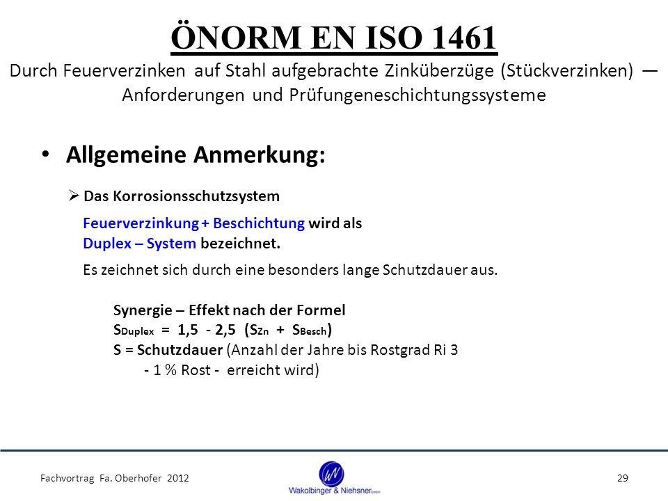ÖNORM EN ISO 1461 Durch Feuerverzinken auf Stahl aufgebrachte Zinküberzüge (Stückverzinken) ― Anforderungen und Prüfungeneschichtungssysteme Allgemeine Anmerkung: Fachvortrag Fa.