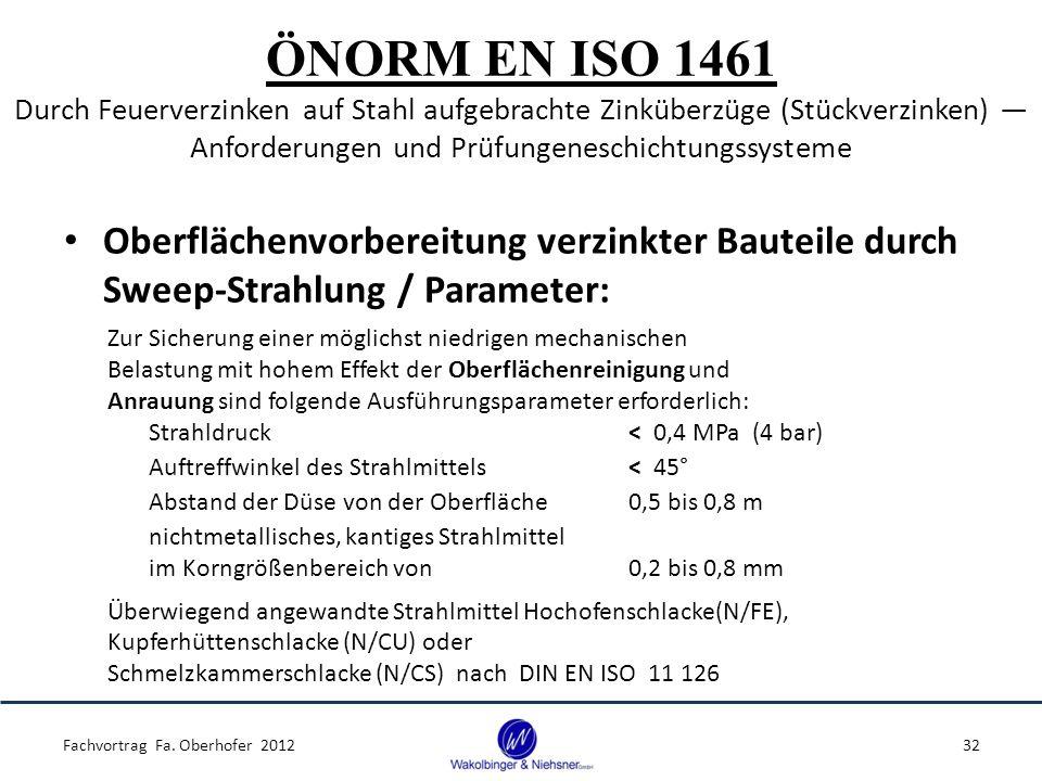 ÖNORM EN ISO 1461 Durch Feuerverzinken auf Stahl aufgebrachte Zinküberzüge (Stückverzinken) ― Anforderungen und Prüfungeneschichtungssysteme Oberfläch
