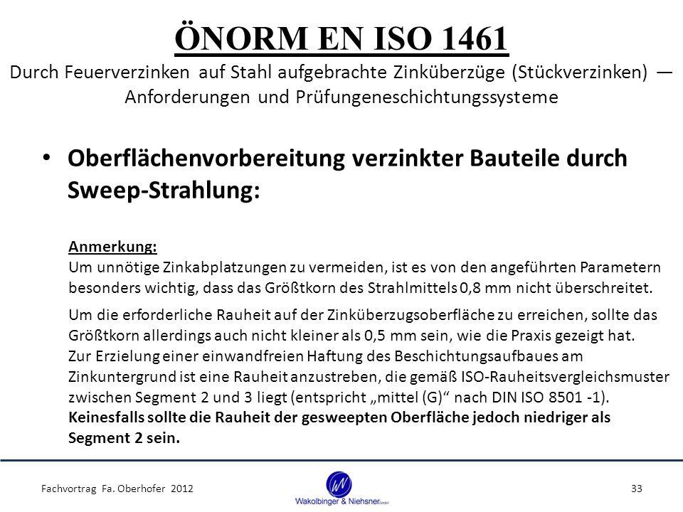 ÖNORM EN ISO 1461 Durch Feuerverzinken auf Stahl aufgebrachte Zinküberzüge (Stückverzinken) ― Anforderungen und Prüfungeneschichtungssysteme Oberflächenvorbereitung verzinkter Bauteile durch Sweep-Strahlung: Fachvortrag Fa.