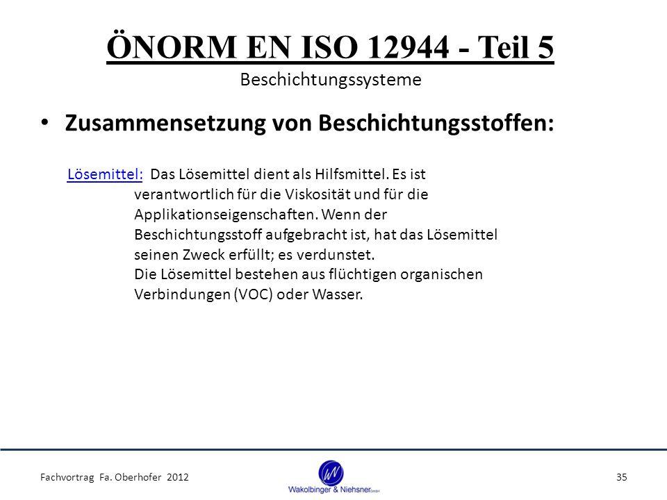 ÖNORM EN ISO 12944 - Teil 5 Beschichtungssysteme Zusammensetzung von Beschichtungsstoffen: Fachvortrag Fa. Oberhofer 201235 Lösemittel: Das Lösemittel