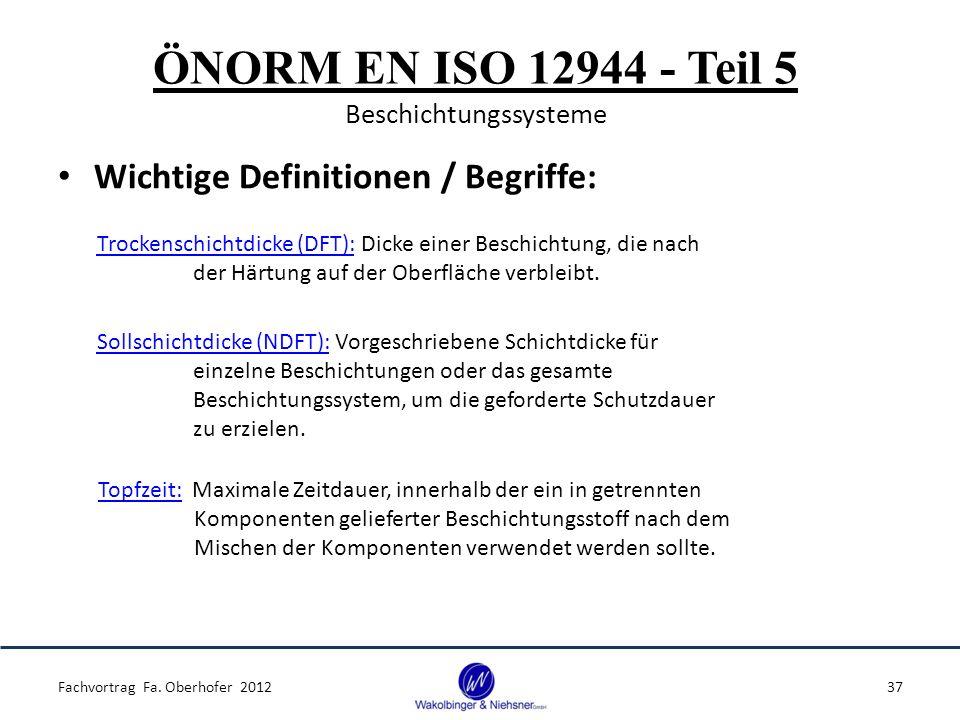 ÖNORM EN ISO 12944 - Teil 5 Beschichtungssysteme Wichtige Definitionen / Begriffe: Fachvortrag Fa. Oberhofer 201237 Trockenschichtdicke (DFT): Dicke e