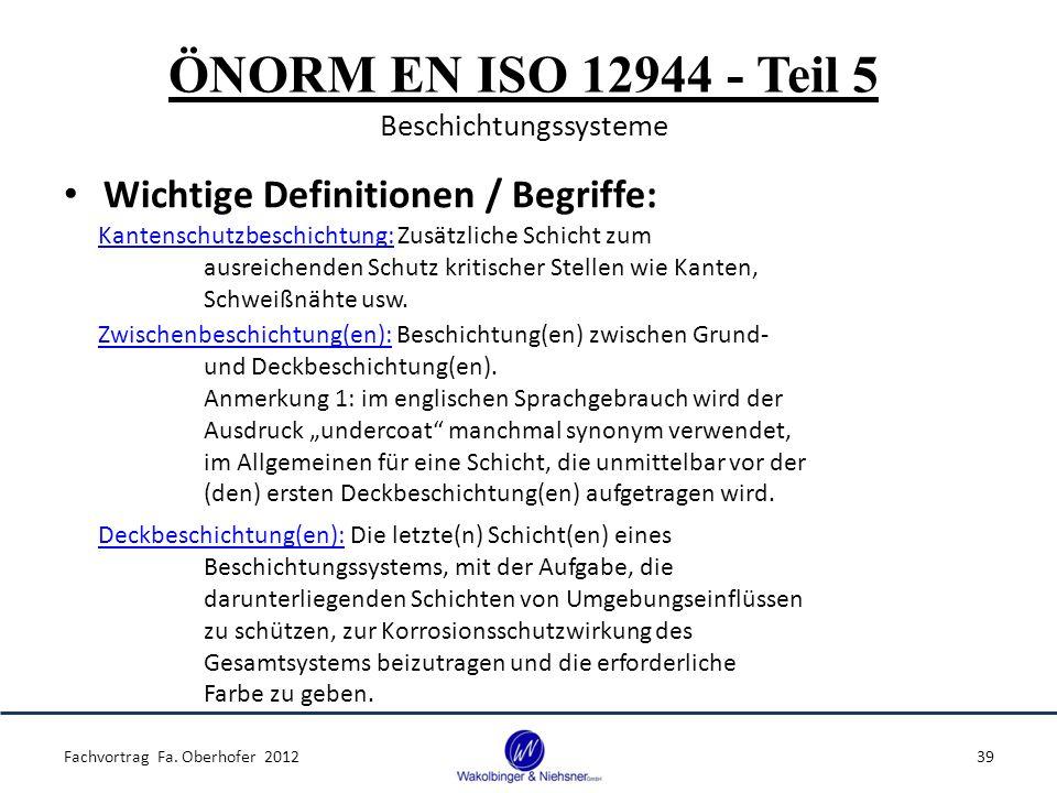 ÖNORM EN ISO 12944 - Teil 5 Beschichtungssysteme Wichtige Definitionen / Begriffe: Fachvortrag Fa. Oberhofer 201239 Kantenschutzbeschichtung: Zusätzli