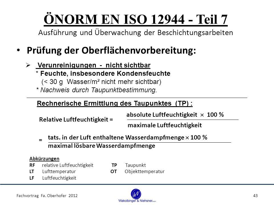 ÖNORM EN ISO 12944 - Teil 7 Ausführung und Überwachung der Beschichtungsarbeiten Prüfung der Oberflächenvorbereitung: Fachvortrag Fa. Oberhofer 201243