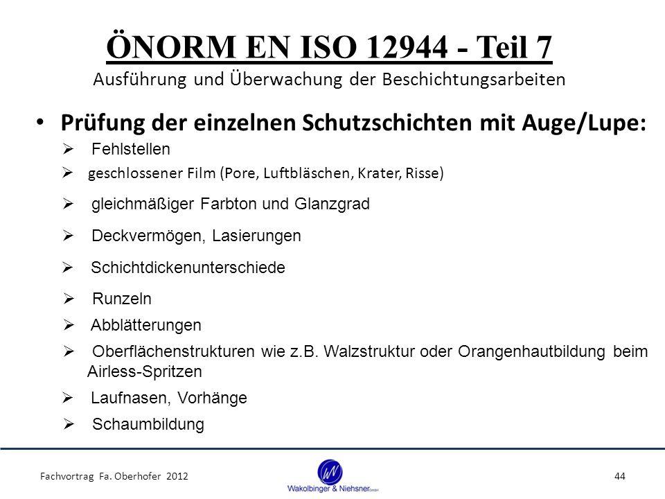 ÖNORM EN ISO 12944 - Teil 7 Ausführung und Überwachung der Beschichtungsarbeiten Prüfung der einzelnen Schutzschichten mit Auge/Lupe: Fachvortrag Fa.