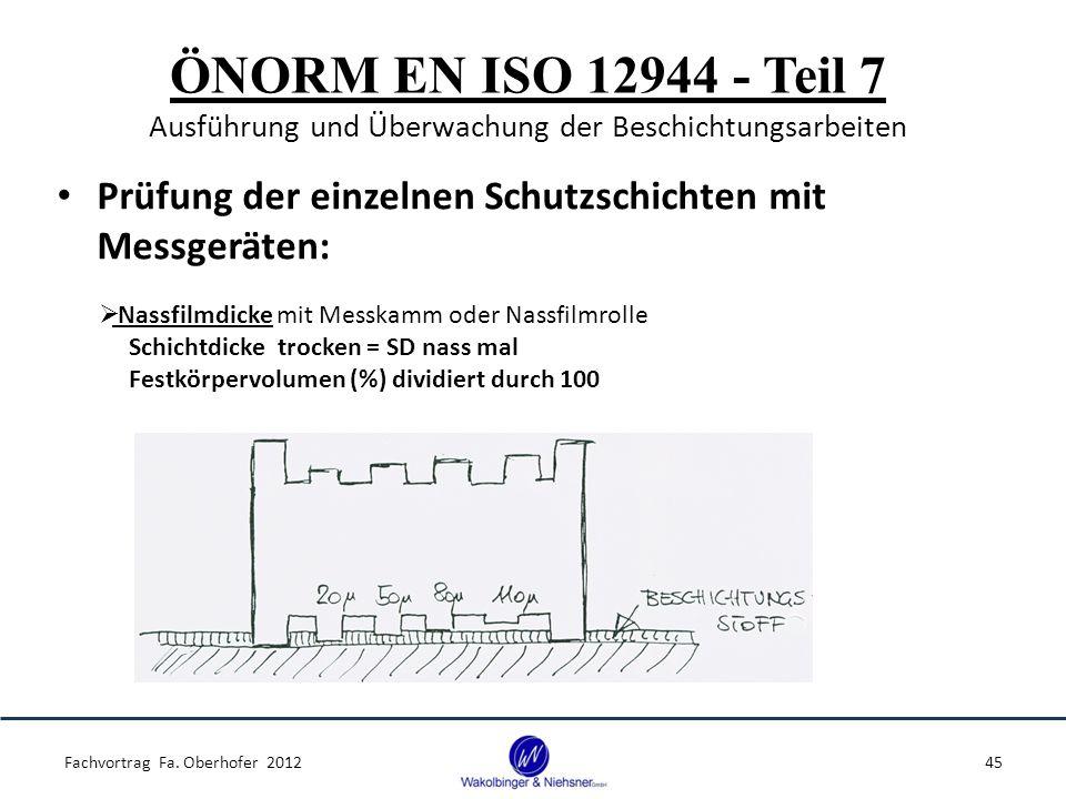 ÖNORM EN ISO 12944 - Teil 7 Ausführung und Überwachung der Beschichtungsarbeiten Prüfung der einzelnen Schutzschichten mit Messgeräten: Fachvortrag Fa