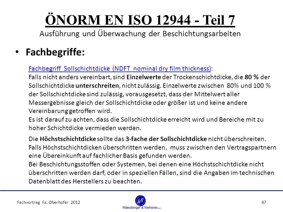 ÖNORM EN ISO 12944 - Teil 7 Ausführung und Überwachung der Beschichtungsarbeiten Fachbegriffe: Fachvortrag Fa. Oberhofer 201247 Fachbegriff Sollschich