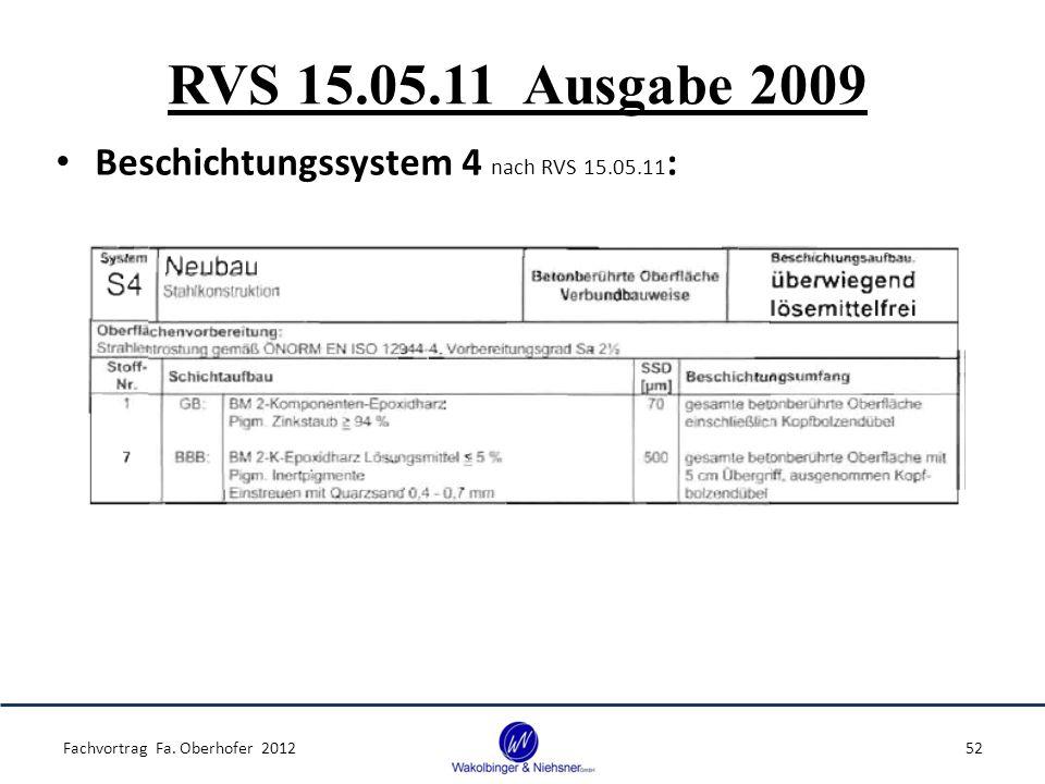 RVS 15.05.11 Ausgabe 2009 Beschichtungssystem 4 nach RVS 15.05.11 : Fachvortrag Fa. Oberhofer 201252