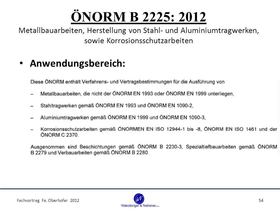 ÖNORM B 2225: 2012 Metallbauarbeiten, Herstellung von Stahl- und Aluminiumtragwerken, sowie Korrosionsschutzarbeiten Anwendungsbereich: Fachvortrag Fa