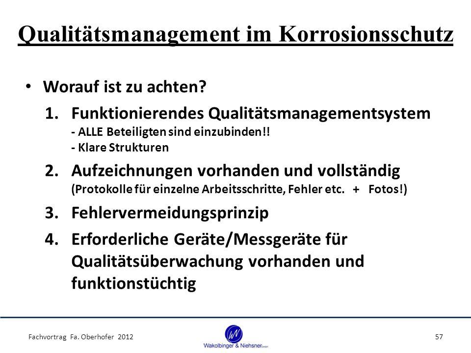 Qualitätsmanagement im Korrosionsschutz Fachvortrag Fa. Oberhofer 201257 Worauf ist zu achten? 1.Funktionierendes Qualitätsmanagementsystem - ALLE Bet