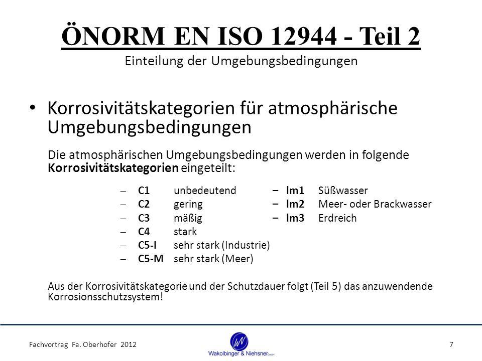 ÖNORM EN ISO 12944 - Teil 2 Einteilung der Umgebungsbedingungen Korrosivitätskategorien für atmosphärische Umgebungsbedingungen Die atmosphärischen Umgebungsbedingungen werden in folgende Korrosivitätskategorien eingeteilt:  C1unbedeutend – lm1Süßwasser  C2gering – lm2Meer- oder Brackwasser  C3mäßig – lm3Erdreich  C4stark  C5-Isehr stark (Industrie)  C5-Msehr stark (Meer) Aus der Korrosivitätskategorie und der Schutzdauer folgt (Teil 5) das anzuwendende Korrosionsschutzsystem.