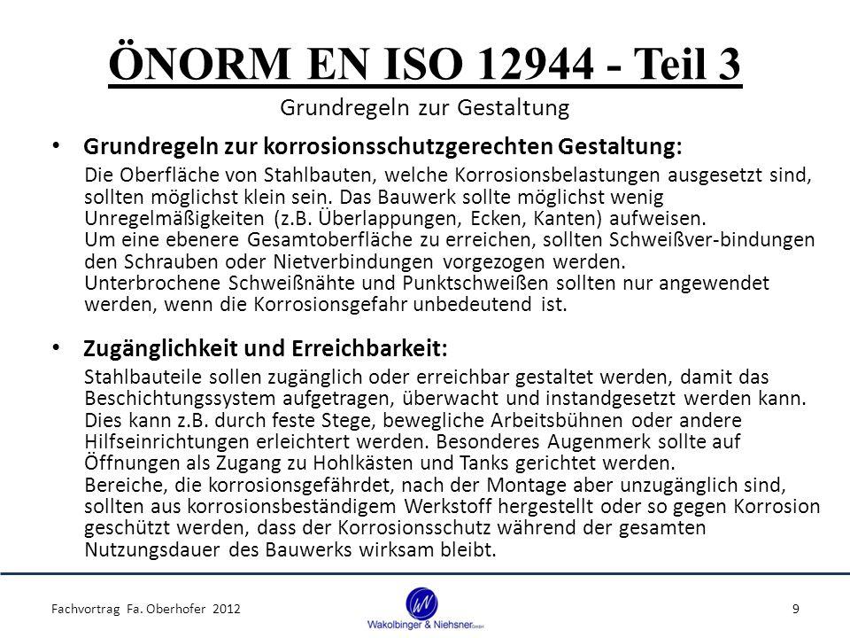 ÖNORM EN ISO 12944 - Teil 7 Ausführung und Überwachung der Beschichtungsarbeiten Allgemeines: Fachvortrag Fa.