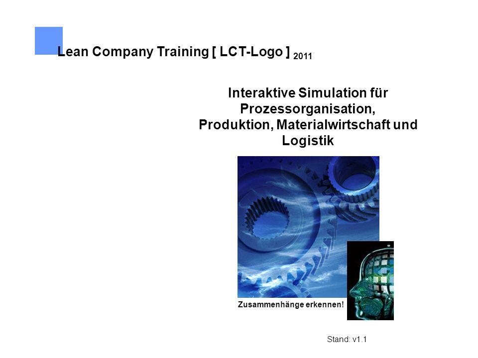 Interaktive Simulation für Prozessorganisation, Produktion, Materialwirtschaft und Logistik Lean Company Training [ LCT-Logo ] 2011 Zusammenhänge erke