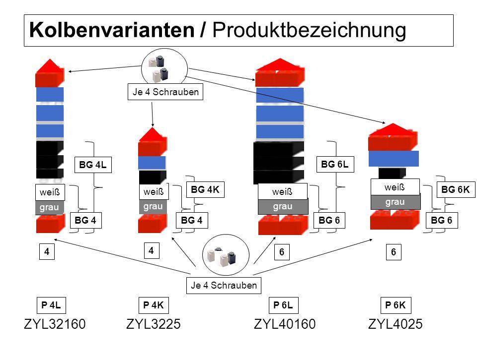 Kolbenvarianten / Produktbezeichnung grau weiß ZYL3225ZYL4025ZYL32160ZYL40160 grau weiß grau weiß Je 4 Schrauben grau weiß 4 4 66 BG 6L BG 6 BG 4L BG