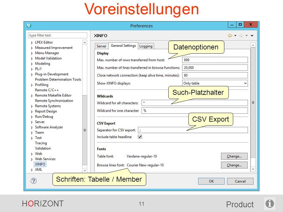HORIZONT 11 Product Voreinstellungen CSV Export Schriften: Tabelle / Member Datenoptionen Such-Platzhalter