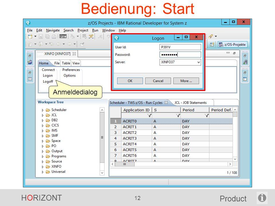 HORIZONT 12 Product Bedienung: Start Anmeldedialog