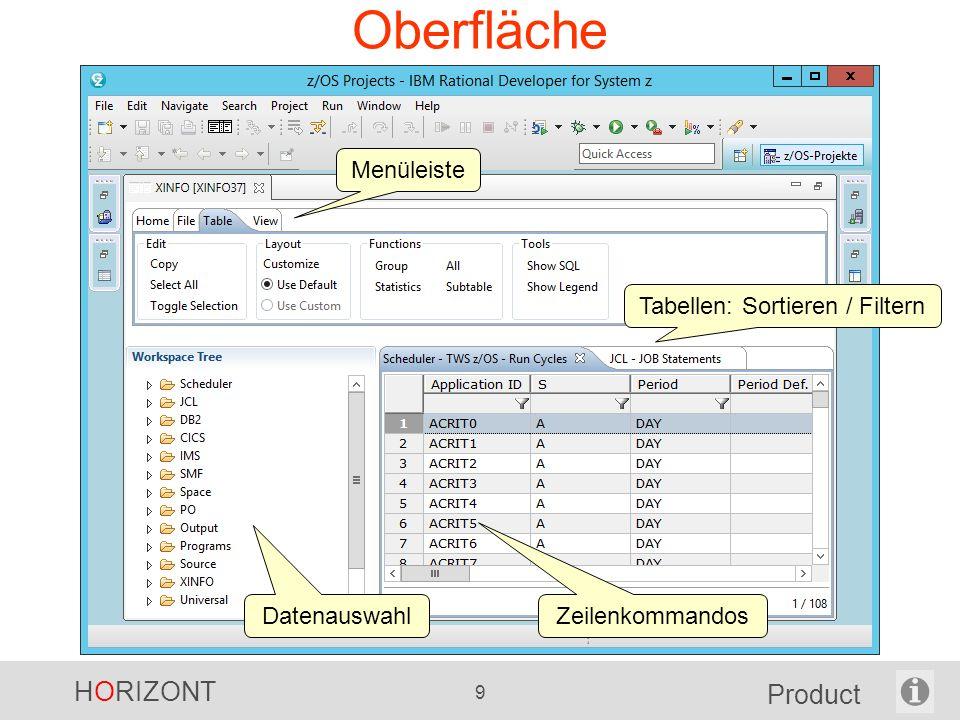 HORIZONT 9 Product Oberfläche Menüleiste Tabellen: Sortieren / Filtern DatenauswahlZeilenkommandos