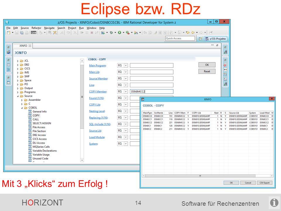 """HORIZONT 13 Software für Rechenzentren (neue) Windows-GUI Mit 3 """"Klicks zum Erfolg !"""