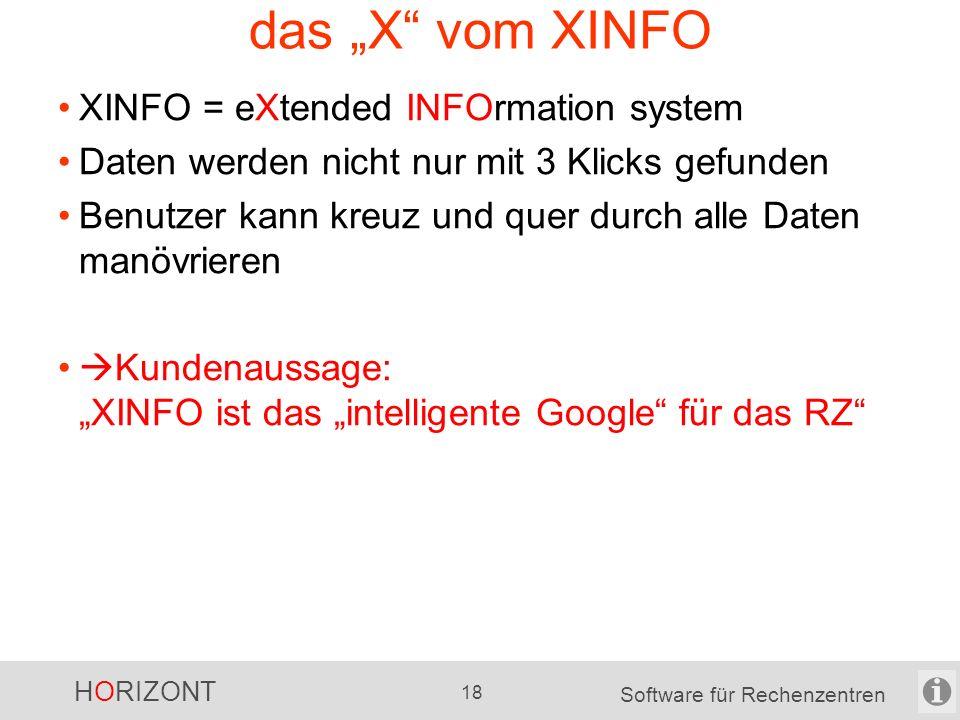 HORIZONT 17 Software für Rechenzentren XINFO-Grafiken Beispiele