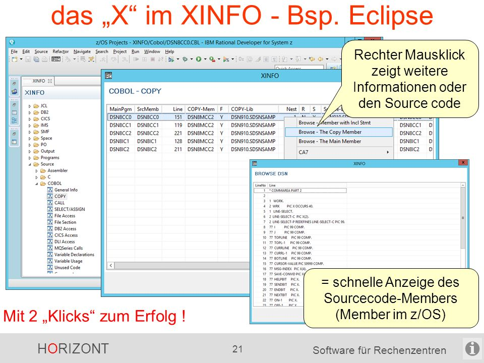 """HORIZONT 20 Software für Rechenzentren das """"X vom XINFO - Windows-Dialog Mit 2 """"Klicks zum Erfolg ."""