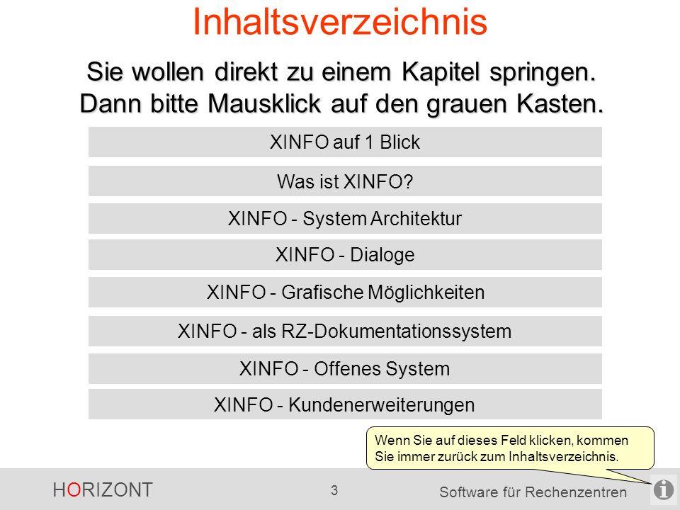HORIZONT 2 Software für Rechenzentren Ziel der Datei Mit dieser Datei erhalten sie einen schnellen Übersicht zu XINFO.