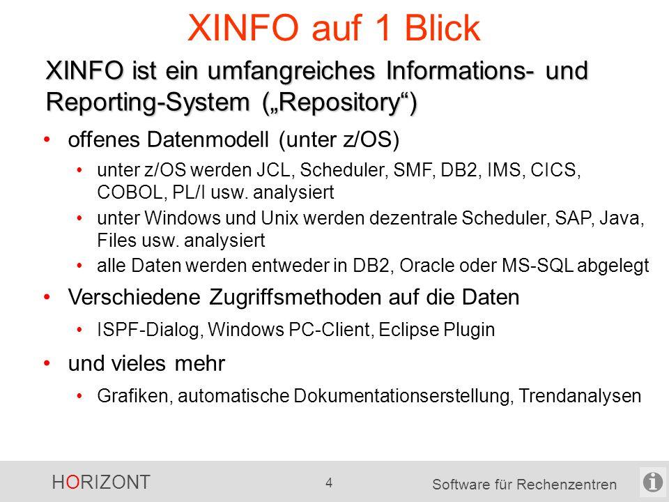 """HORIZONT 4 Software für Rechenzentren XINFO auf 1 Blick XINFO ist ein umfangreiches Informations- und Reporting-System (""""Repository ) offenes Datenmodell (unter z/OS) unter z/OS werden JCL, Scheduler, SMF, DB2, IMS, CICS, COBOL, PL/I usw."""