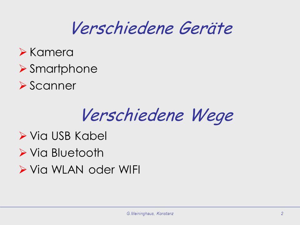 Verschiedene Geräte  Kamera  Smartphone  Scanner  Via USB Kabel  Via Bluetooth  Via WLAN oder WIFI G.Meininghaus, Konstanz2 Verschiedene Wege