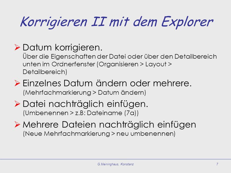 Korrigieren II mit dem Explorer  Datum korrigieren.