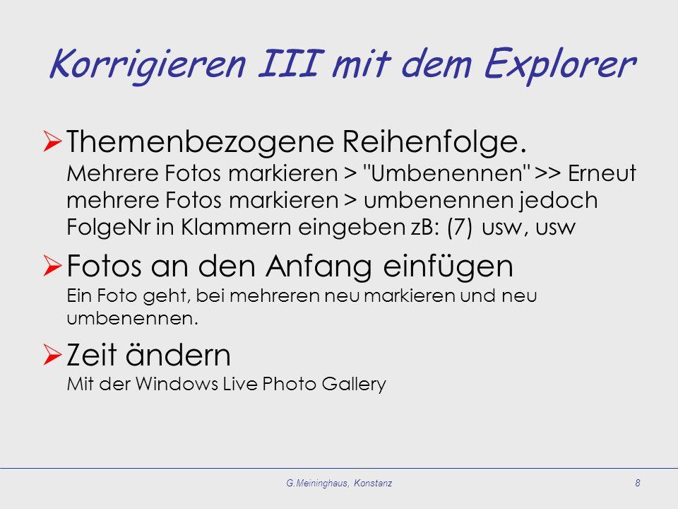Korrigieren III mit dem Explorer  Themenbezogene Reihenfolge.