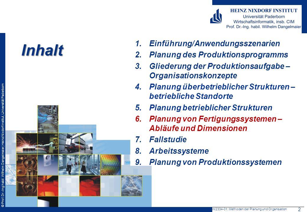 © Prof. Dr.-Ing habil. Wilhelm Dangelmaier, Heinz Nixdorf Institut, Universität Paderborn Inhalt 1.Einführung/Anwendungsszenarien 2.Planung des Produk