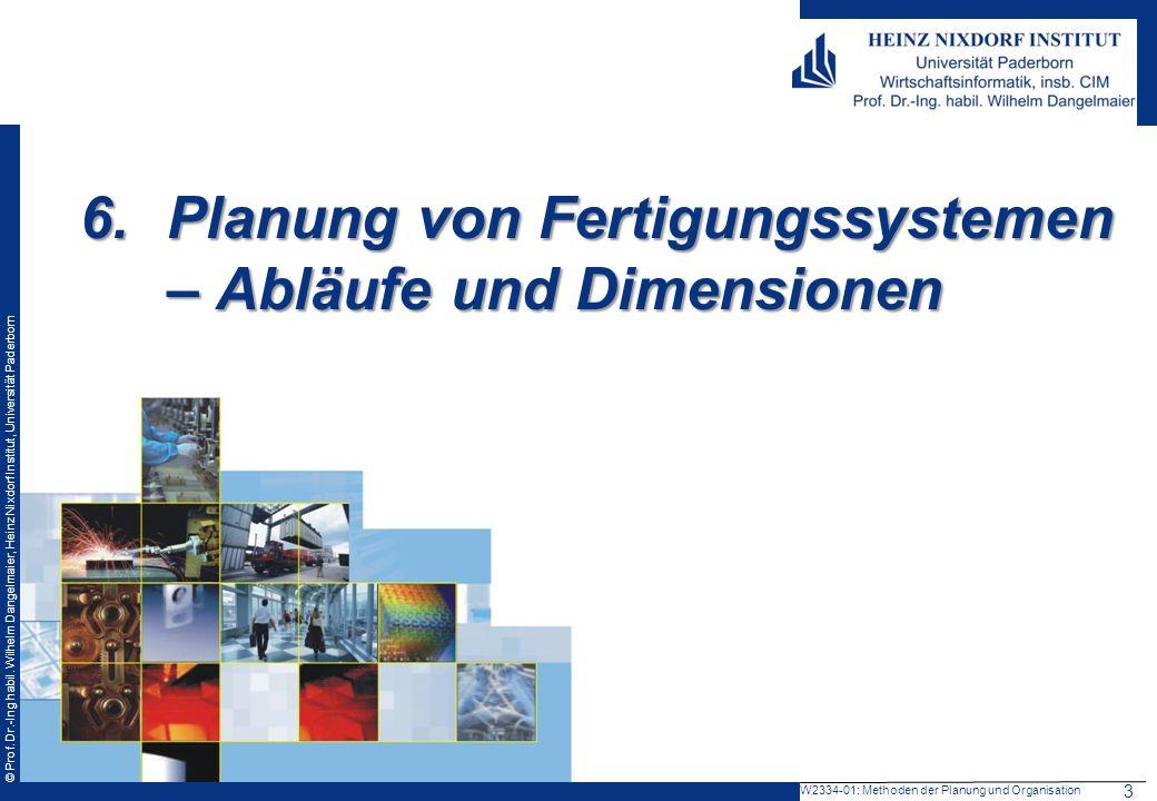 © Prof. Dr.-Ing habil. Wilhelm Dangelmaier, Heinz Nixdorf Institut, Universität Paderborn 6.Planung von Fertigungssystemen – Abläufe und Dimensionen W