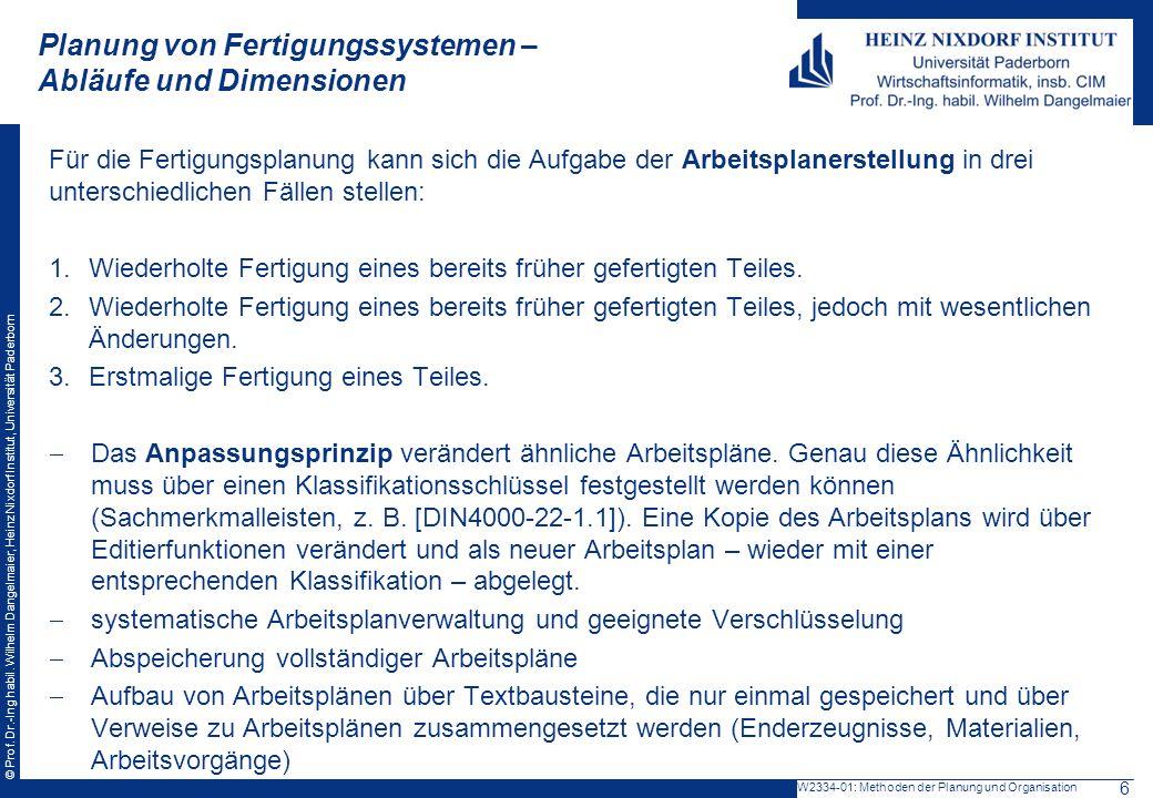 © Prof. Dr.-Ing habil. Wilhelm Dangelmaier, Heinz Nixdorf Institut, Universität Paderborn Planung von Fertigungssystemen – Abläufe und Dimensionen Für