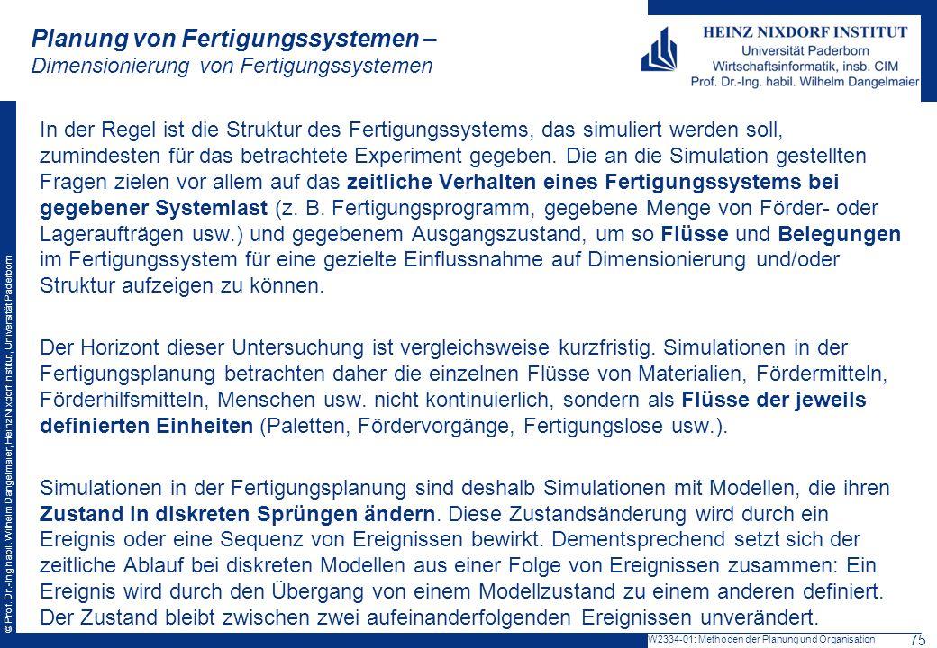 © Prof. Dr.-Ing habil. Wilhelm Dangelmaier, Heinz Nixdorf Institut, Universität Paderborn Planung von Fertigungssystemen – Dimensionierung von Fertigu