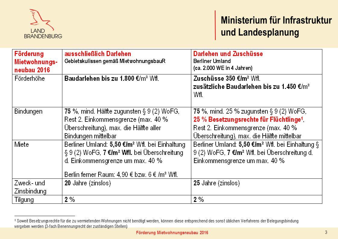 4 MietwohnungsbauförderungsR derzeitiger Abstimmungsstand Kombinierte Zuschuss- und Darlehensförderung Gesamtkosten4.500.000 €2.500 €/m²4.500.000 €2.500 €/m² Eigenleistung (20%)900.000 € Baudarlehen3.240.000 €bis zu 1.800 €/m²2.610.000 €bis zu 1.450 €/m² Zuschuss --630.000 €350 €/m² Fremddarlehen360.000 € Bindungsanteil75% davon §937,5%50% (zur Hälfte Besetzungsrechte) davon § 9 + 40%37,5%25% Freie Wohnungen25% Die Mietwohnungsneubauförderung in Brandenburg ab 2016