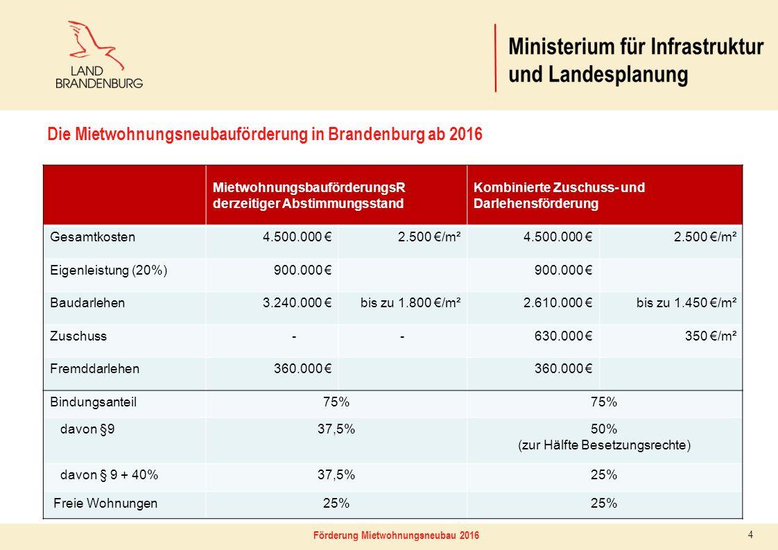 4 MietwohnungsbauförderungsR derzeitiger Abstimmungsstand Kombinierte Zuschuss- und Darlehensförderung Gesamtkosten4.500.000 €2.500 €/m²4.500.000 €2.5