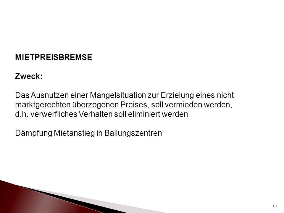 """Vor den Vorschriften zur Mieterhöhung §§ 557 ff BGB wird ein Unterkapitel 1 a eingefügt: """"Vereinbarung über die Miethöhe bei Mietbeginn in Gebieten mit angespannten Wohnungsmärkten Geregelt wird das unter den neu eingefügten §§ 556d BGB bis § 556g BGB In Artikel 229 EGBGB ist eine Übergangsvorschrift eingefügt, nämlich die Geltung für Mietverträge, die abgeschlossen (Vertragsschluss) werden, nachdem die Wohnung in den räumlichen und zeitlichen Anwendungsfall einer Rechtsverordnung nach § 556d Abs."""