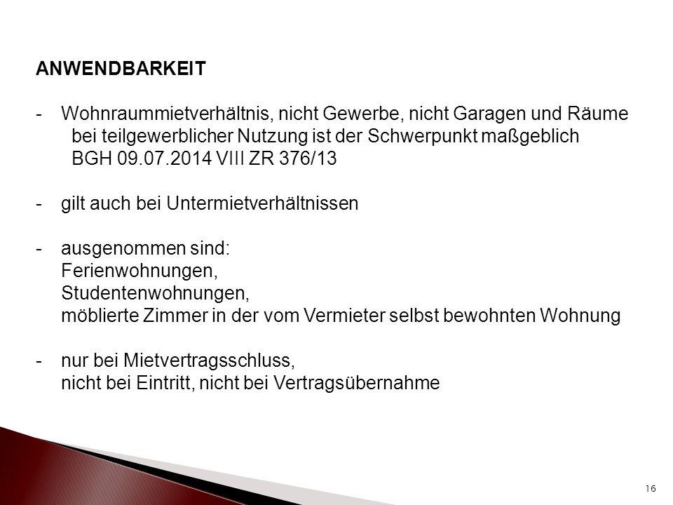 ANGESPANNTER WOHNUNGSMARKT nun in § 556d Abs.