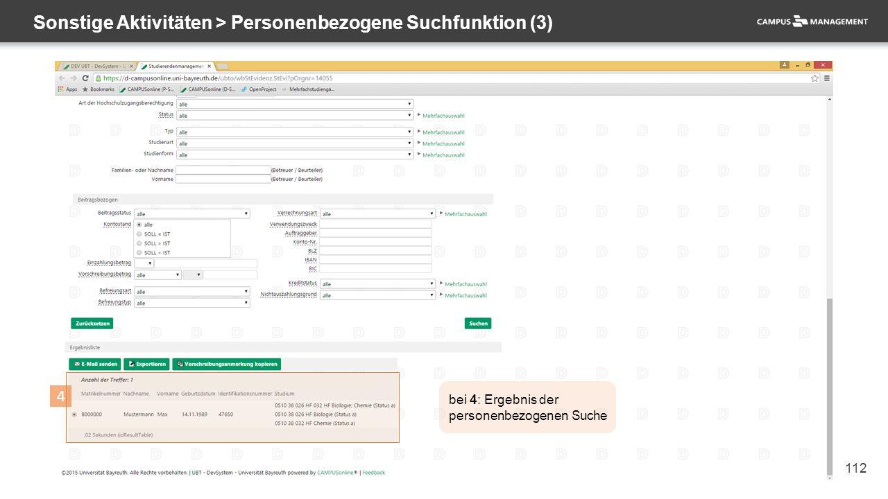 112 Sonstige Aktivitäten > Personenbezogene Suchfunktion (3) 4 bei 4: Ergebnis der personenbezogenen Suche